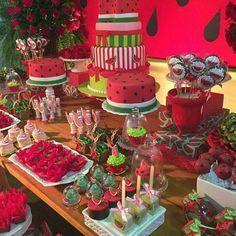 Watermelon Dessert, Watermelon Birthday Parties, Fruit Birthday, Girls Birthday Party Themes, First Birthday Parties, Birthday Party Decorations, First Birthdays, Strawberry Shortcake Party, Baby