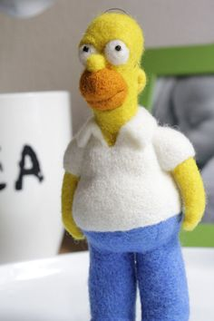 Your place to buy and sell all things handmade Needle Felted Animals, Felt Animals, Wet Felting, Needle Felting, Fibre And Fabric, Felt Fairy, Homer Simpson, Fairy Dolls, Felt Hearts