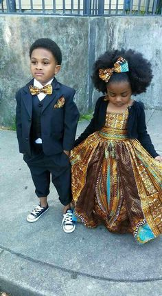 African Print Formal Dress Tux for Prom Children Natural Hair