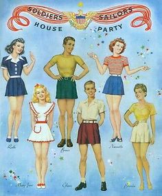 VINTGE 1943 NAVY GIRLS MARINES PAPER DOLL WWII ~HD LASER REPRO~ORIG SIZE UNCUT