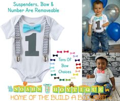 6c6c944ddd Birthday Outfit - Boys First Birthday Outfit - Black Number One - Chevron  Suspenders - Aqua Bow Tie - Cake Smash - Birthday Shirt by Noah s Boytique