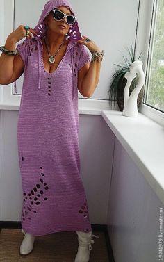 Купить Платье - чехол с капюшоном для отдыха. - авторское платье, платье с капюшоном, бирюзовый, декоративные элементы