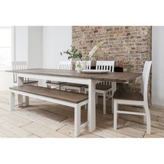 Noa and Nani Hever Dining Table with 5 Chairs & Bench & 2 Extensions