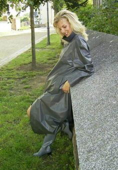 Grey Rubber Raincoat