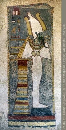 Osiris with djed-pillar in shrine.