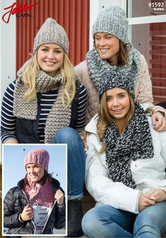 Trendy hats and scarves. Knit them with our super-bulky yarn Elvira.
