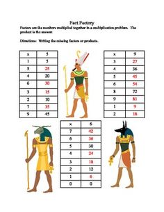 ANCIENT EGYPTIAN THEME-MULTIPLICATION PRACTICE FOR GRADES 4 & 5 - TeachersPayTeachers.com