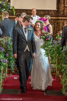 Cascading Passion Flower pew ends line the aisle at Redland Church, Bristol. A Wilde Bunch summer design Church Wedding Flowers, Aisle Flowers, Pew Ends, Passion Flower, Summer Design, Bristol, Big Day, Wedding Dresses, People