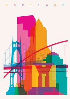 Shapes of Portland. Accurate to scale. St. Johns Bridge, Fremont Bridge, Portland Observatory, U.S. Bancorp Tower, KOIN Center, Portland Building, 1000 Broadway, Union Station. Shapesofcities.com