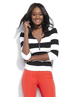 Shop Zip-Front Ribbed Sweater - Stripe . Find your perfect size online at the best price at New York