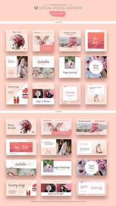 Pink Peach Social Media Designs by Evatheme on the Creative Market - Advertising Design Social Media Ad, Social Media Banner, Social Media Template, Social Media Design, Social Networks, Social Media Graphics, Social Media Campaign Ideas, Social Media Trends, Social Media Branding