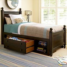 Paula Deen Furniture Collection:  - Guys Twin Guy's Reading Low Post Bed with Underbed Storage Unit. Features Jack's Chest & Treasures Mirror. #bedroom