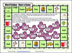 Please enjoy this Printable Short u CVC FREEBIE Board Game by Games 4 Learning - This phonics game practices identifying and recognizing CVC Words with Short u.