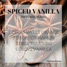 Spiced Vanilla Diffuser Blend Recipe Vanilla Oil, Vanilla Essential Oil, Essential Oil Perfume, Essential Oil Companies, Essential Oils Cleaning, Healing Oils, Aromatherapy Oils, Vanilla Recipes, Diy