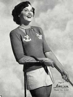 A Playful Yachting Sweater c. 1950s  Vintage by SubversiveFemme
