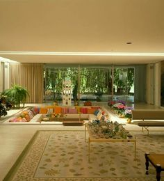 Retro Interior Design, Sunken Living Room, Living Rooms, Casas The Sims 4, Miller Homes, Modernisme, Family Room Design, Family Rooms, Dream Home Design