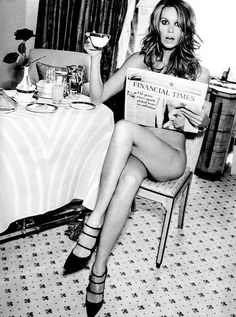 Morning pick-me-up. Elle Macpherson, New York, 1994. Photographer: Ellen von Unwerth.