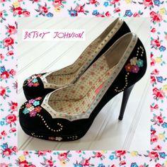 Betsey Johnson Platform Heels w/Studded Flowers    $45 @anniesarmoire on Poshmark