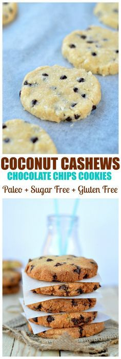 Coconut + Cashews + coconut flour = healthy Paleo cookies. Moist & Crispy outside the BEST low carbs cookies I ever had! An you know what ? There are also Gluten free, dairy free. grain free and sugar free too ! #grainfree #sugarfree #cookies #chocolatechips #paleo #dairyfree #glutenfreebaking #baking #recipe #easycookies #healthycookies #cleaneating