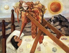 "This painting, ""Without help"", was created by Frida Kahlo in 1945, when she was forced fed by prescription of her doctor. On the back she left a note saying ""Not the least hope remains to me...Everything moves in time with what the belly contains."" Due to many illnesses, Frida became too thin and malnourished, so her doctor took action. Her doctor, Dr. Eloesser prescribed her complete bed rest and forced diet  of pureed food every two hours. Overall, this painting is a depiction of the…"