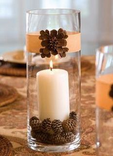 Fall centerpiece with tall glass cylinders filled with a candle and mini pine cones. Thanksgiving Diy, Thanksgiving Decorations, Christmas Decorations, Fall Crafts, Christmas Crafts, Christmas Wedding, Fall Wedding, Christmas Colors, Diy Wedding