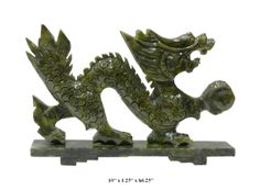 Jade Dragon Statues | ... Chinese Hand Carved Green Jade Stone Feng Shui Dragon Statue f566