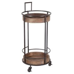 Kinsey Bar Cart - $167.95 - Perfect for serving cocktails to guests or holding towels and toiletries in your master bath, this wood and metal bar cart features a wheeled base and weathered finish.