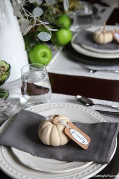 Baby boo with DIY 'family' tag - perfect for Fall and Thanksgiving dinner parties!