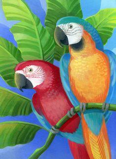 http://www.porterfieldsfineart.com/JohnnyKarwan/parrots-Karwan.htm