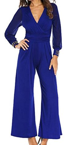 ab2a9f9ab2 YUNY Womens Sexy Deep V-Neck Lace Bell-Bottoms Palazzo Jumpsuits Rompers  Palazzo Jumpsuit