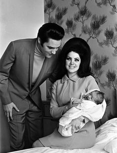 Elvis Presley And Priscilla Presley On Their Wedding Day (PHOTO)  Look at that hair!!