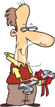 iCLIPART - Cartoon Clip Art Illustration of a Dad Receiving a Tool as a Gift