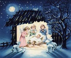 angels and baby Jesus Christmas Manger, Christmas Scenes, Very Merry Christmas, Christmas Past, Xmas, Vintage Christmas Images, Christmas Pictures, Vintage Images, Christmas Greeting Cards
