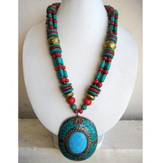 Turquoise and Coral Necklace/Tibetan Necklace/Beaded Necklace/Pendant Necklace/Bohemian Necklace/ Statement Necklace / Bib Necklace