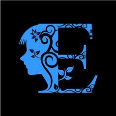 Graphic Design of Flower Clipart - Blue Alphabet E with Black Background