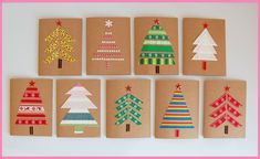 DIY: Weihnachtskarten basteln Crafting with children: You can make colorful Christmas cards with your children from fabric leftovers and send others a treat. Christmas Card Crafts, Homemade Christmas Cards, Christmas Cards To Make, Xmas Cards, Kids Christmas, Homemade Cards, Handmade Christmas, Christmas Decorations, Christmas Sayings