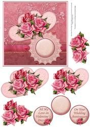 Roses, Hearts & Lace Card Front & Decoupage