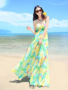 Pleated V-neck Halter Beach Maxi Dress in Floral Print