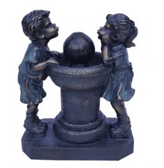 Alpine 13 in. Two Kids Drinking Out of Water Tabletop Fountain - Bronze - Indoor Tabletop Fountains, Tabletop Water Fountain, Indoor Water Fountains, Bubbler Pipe, Garden Sculpture, Lion Sculpture, Kid Drinks, Bronze, Statue