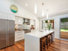 Floorboards in a kitchen design from an Australian home - Kitchen Photo 17203657