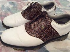 FootJoy Men's FJ DryJoys 53754 Golf Shoes BROWN/WHITE 9 Medium #FootJoy