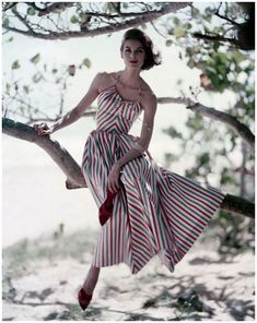"""vogueaustralia: """" From the Vogue archive: The perfect summer striped dress and red stiletto mules, 1957 """" Fashion Moda, 1950s Fashion, Look Fashion, Vintage Fashion, Fashion Outfits, Fashion Design, Fashion Trends, Fashion Women, Fashion Boots"""