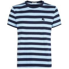 Burberry Sailor Stripe T-Shirt (160 CAD) ❤ liked on Polyvore featuring men's fashion, men's clothing, men's shirts, men's t-shirts, old navy mens shirts, mens embroidered shirts, mens nautical striped shirt, mens navy blue shirt and mens nautical shirt