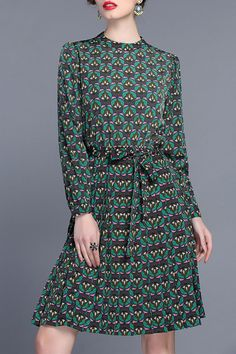 Belted Printed Silky Dress