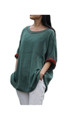 a5378f536a510 Soojun Women s Casual Loose Batwing Sleeve Cotton Linen Top Blouses Green  at Amazon Women s Clothing store