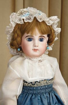 Sanctuary: A Marquis Cataloged Auction of Antique Dolls - March 19, 2016: Beautiful French Bisque Blue-Eyed Bebe E.J. by Jumeau, Size 10