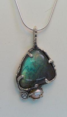 Labradorite fresh water pearl sterling by JoseePoulinjewelry, $175.00