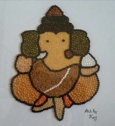 Indian Lentil Art Ganesh by KaviArts on Etsy - Seema Maheshwari - Hotel Rangoli Designs Flower, Colorful Rangoli Designs, Rangoli Ideas, Flower Rangoli, Beautiful Rangoli Designs, Ganesha Drawing, Lord Ganesha Paintings, Ganesha Art, Baby Ganesha
