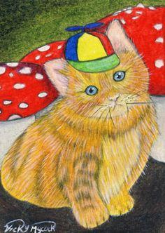 "ACEO Original ""Tweedle dee"" Animal Cat Kitty Wonderland Ginger Fantasy"