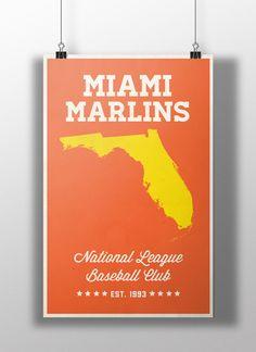 Miami Marlins Minimalist Print by BigLeaguePrints on Etsy, $18.00